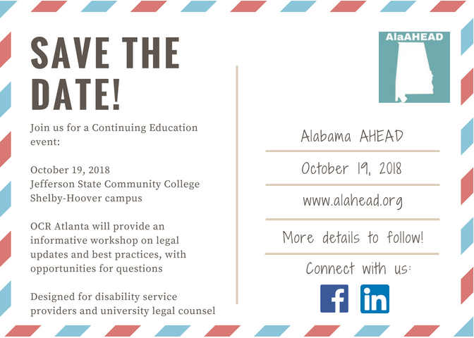 fee4948115f Save the Date! October 19 Continuing Education Event – Alabama AHEAD